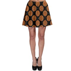 CIRCLES2 BLACK MARBLE & RUSTED METAL (R) Skater Skirt