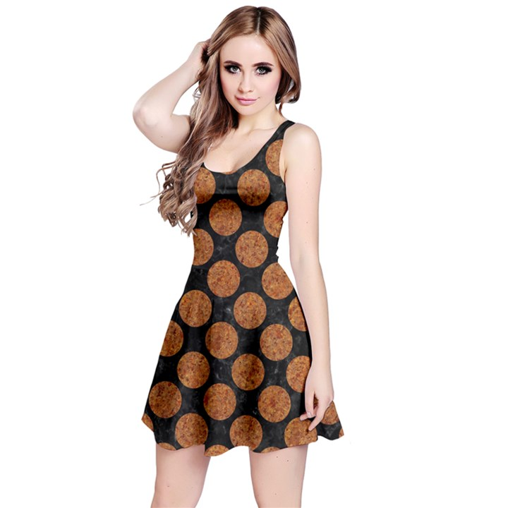 CIRCLES2 BLACK MARBLE & RUSTED METAL (R) Reversible Sleeveless Dress