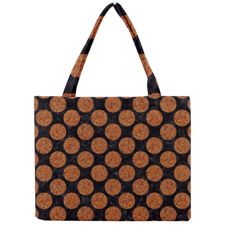 CIRCLES2 BLACK MARBLE & RUSTED METAL (R) Mini Tote Bag