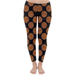 CIRCLES2 BLACK MARBLE & RUSTED METAL (R) Classic Winter Leggings