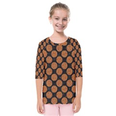 Circles2 Black Marble & Rusted Metal (r) Kids  Quarter Sleeve Raglan Tee