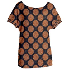 CIRCLES2 BLACK MARBLE & RUSTED METAL (R) Women s Oversized Tee