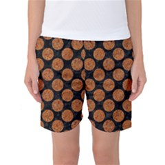 Circles2 Black Marble & Rusted Metal (r) Women s Basketball Shorts