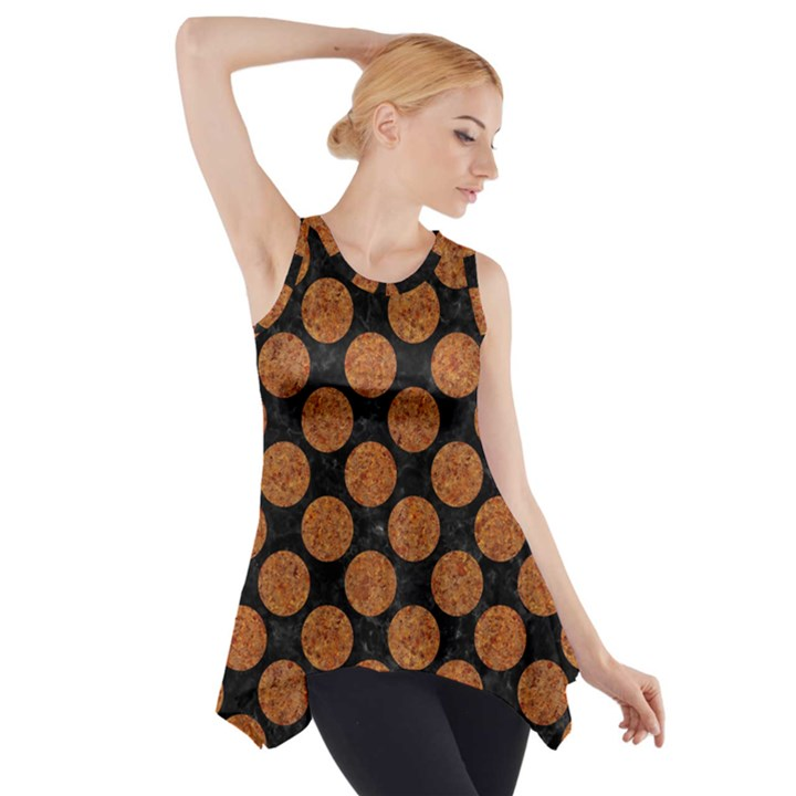 CIRCLES2 BLACK MARBLE & RUSTED METAL (R) Side Drop Tank Tunic