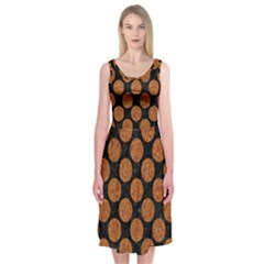 CIRCLES2 BLACK MARBLE & RUSTED METAL (R) Midi Sleeveless Dress