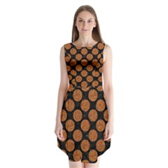 CIRCLES2 BLACK MARBLE & RUSTED METAL (R) Sleeveless Chiffon Dress