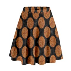 CIRCLES2 BLACK MARBLE & RUSTED METAL (R) High Waist Skirt