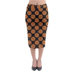 CIRCLES2 BLACK MARBLE & RUSTED METAL (R) Midi Pencil Skirt