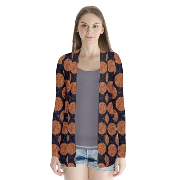 CIRCLES2 BLACK MARBLE & RUSTED METAL (R) Drape Collar Cardigan
