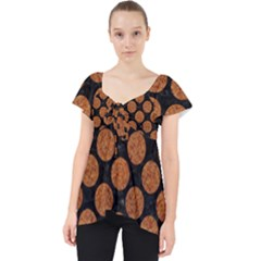 CIRCLES2 BLACK MARBLE & RUSTED METAL (R) Lace Front Dolly Top