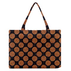 CIRCLES2 BLACK MARBLE & RUSTED METAL (R) Zipper Medium Tote Bag