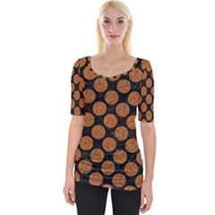 CIRCLES2 BLACK MARBLE & RUSTED METAL (R) Wide Neckline Tee
