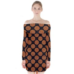 CIRCLES2 BLACK MARBLE & RUSTED METAL (R) Long Sleeve Off Shoulder Dress