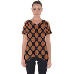 CIRCLES2 BLACK MARBLE & RUSTED METAL (R) Cut Out Side Drop Tee
