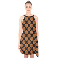 CIRCLES2 BLACK MARBLE & RUSTED METAL (R) Halter Collar Waist Tie Chiffon Dress