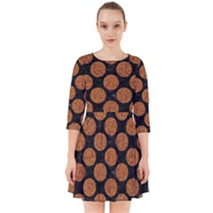 CIRCLES2 BLACK MARBLE & RUSTED METAL (R) Smock Dress
