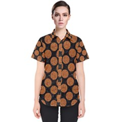 CIRCLES2 BLACK MARBLE & RUSTED METAL (R) Women s Short Sleeve Shirt