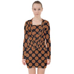 CIRCLES2 BLACK MARBLE & RUSTED METAL (R) V-neck Bodycon Long Sleeve Dress