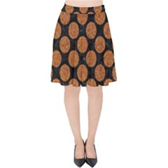 CIRCLES2 BLACK MARBLE & RUSTED METAL (R) Velvet High Waist Skirt