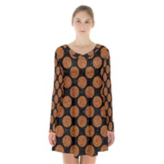 CIRCLES2 BLACK MARBLE & RUSTED METAL (R) Long Sleeve Velvet V-neck Dress