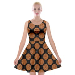 CIRCLES2 BLACK MARBLE & RUSTED METAL (R) Velvet Skater Dress