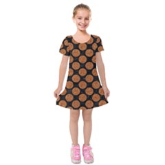 CIRCLES2 BLACK MARBLE & RUSTED METAL (R) Kids  Short Sleeve Velvet Dress