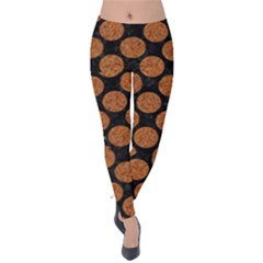 CIRCLES2 BLACK MARBLE & RUSTED METAL (R) Velvet Leggings