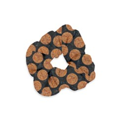 CIRCLES2 BLACK MARBLE & RUSTED METAL (R) Velvet Scrunchie