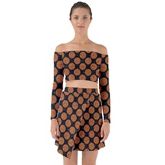 CIRCLES2 BLACK MARBLE & RUSTED METAL (R) Off Shoulder Top with Skirt Set