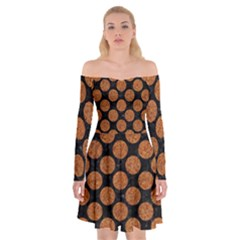 CIRCLES2 BLACK MARBLE & RUSTED METAL (R) Off Shoulder Skater Dress