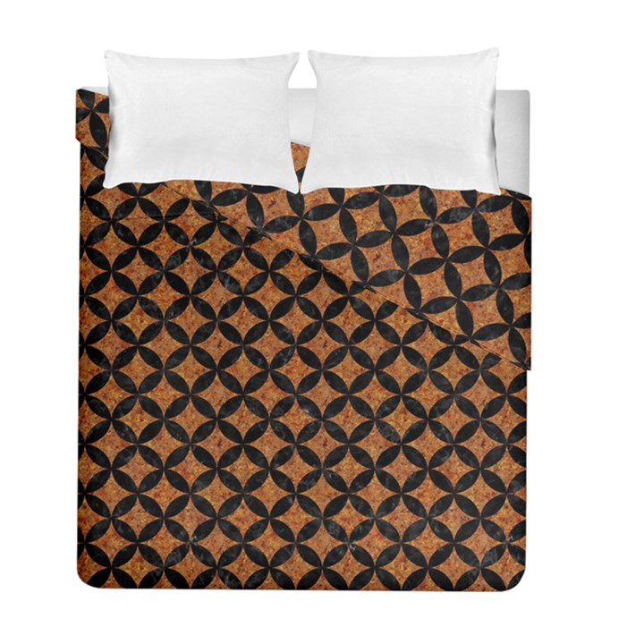 CIRCLES3 BLACK MARBLE & RUSTED METAL Duvet Cover Double Side (Full/ Double Size)