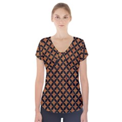 CIRCLES3 BLACK MARBLE & RUSTED METAL Short Sleeve Front Detail Top