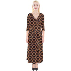 CIRCLES3 BLACK MARBLE & RUSTED METAL Quarter Sleeve Wrap Maxi Dress