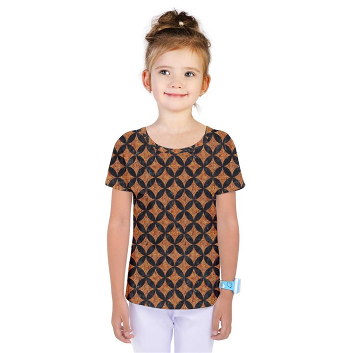 CIRCLES3 BLACK MARBLE & RUSTED METAL Kids  One Piece Tee