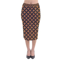 Circles3 Black Marble & Rusted Metal Velvet Midi Pencil Skirt by trendistuff