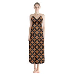 CIRCLES3 BLACK MARBLE & RUSTED METAL Button Up Chiffon Maxi Dress