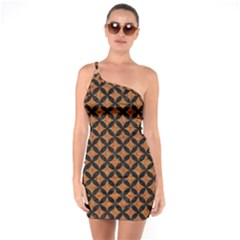 Circles3 Black Marble & Rusted Metal One Soulder Bodycon Dress by trendistuff