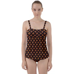 CIRCLES3 BLACK MARBLE & RUSTED METAL Twist Front Tankini Set