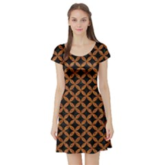Circles3 Black Marble & Rusted Metal (r) Short Sleeve Skater Dress by trendistuff