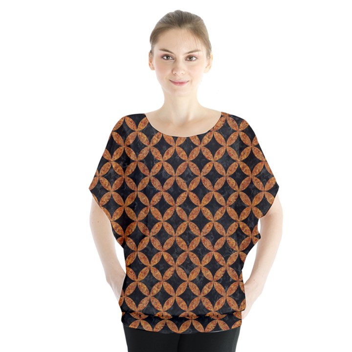 CIRCLES3 BLACK MARBLE & RUSTED METAL (R) Blouse