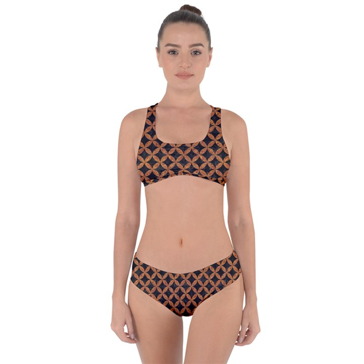 CIRCLES3 BLACK MARBLE & RUSTED METAL (R) Criss Cross Bikini Set
