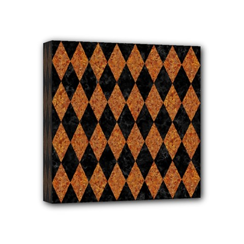 Diamond1 Black Marble & Rusted Metal Mini Canvas 4  X 4  by trendistuff