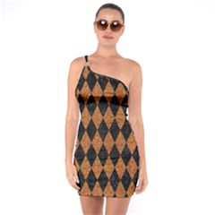 DIAMOND1 BLACK MARBLE & RUSTED METAL One Soulder Bodycon Dress