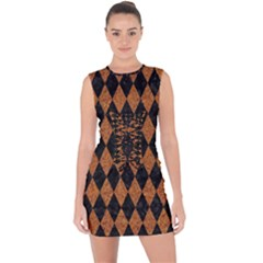 DIAMOND1 BLACK MARBLE & RUSTED METAL Lace Up Front Bodycon Dress