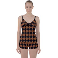DIAMOND1 BLACK MARBLE & RUSTED METAL Tie Front Two Piece Tankini