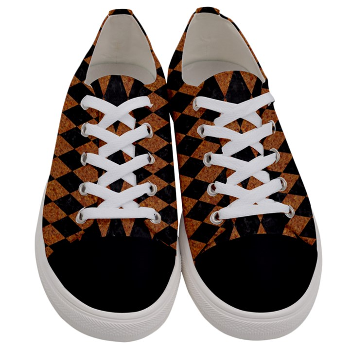 DIAMOND1 BLACK MARBLE & RUSTED METAL Women s Low Top Canvas Sneakers