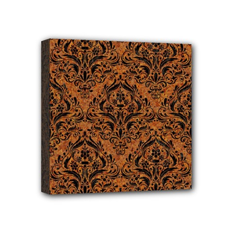 Damask1 Black Marble & Rusted Metal Mini Canvas 4  X 4