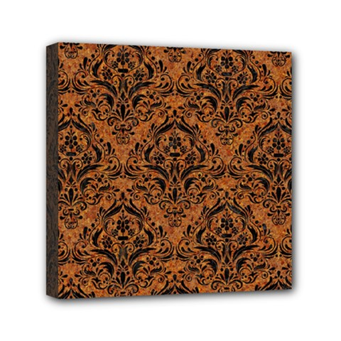 Damask1 Black Marble & Rusted Metal Mini Canvas 6  X 6  by trendistuff