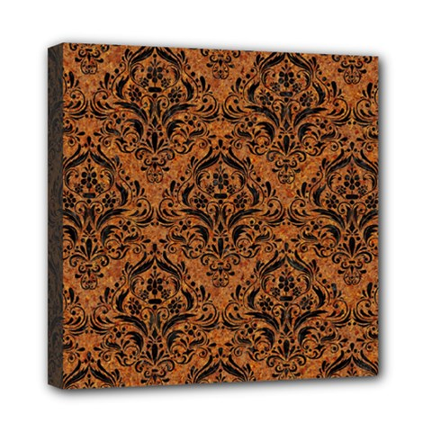Damask1 Black Marble & Rusted Metal Mini Canvas 8  X 8  by trendistuff
