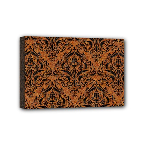 Damask1 Black Marble & Rusted Metal Mini Canvas 6  X 4  by trendistuff